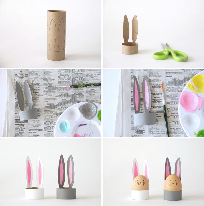activité manuelle maternelle idée comment faire porte oeuf en forme de lapin avec rouleaux de papier