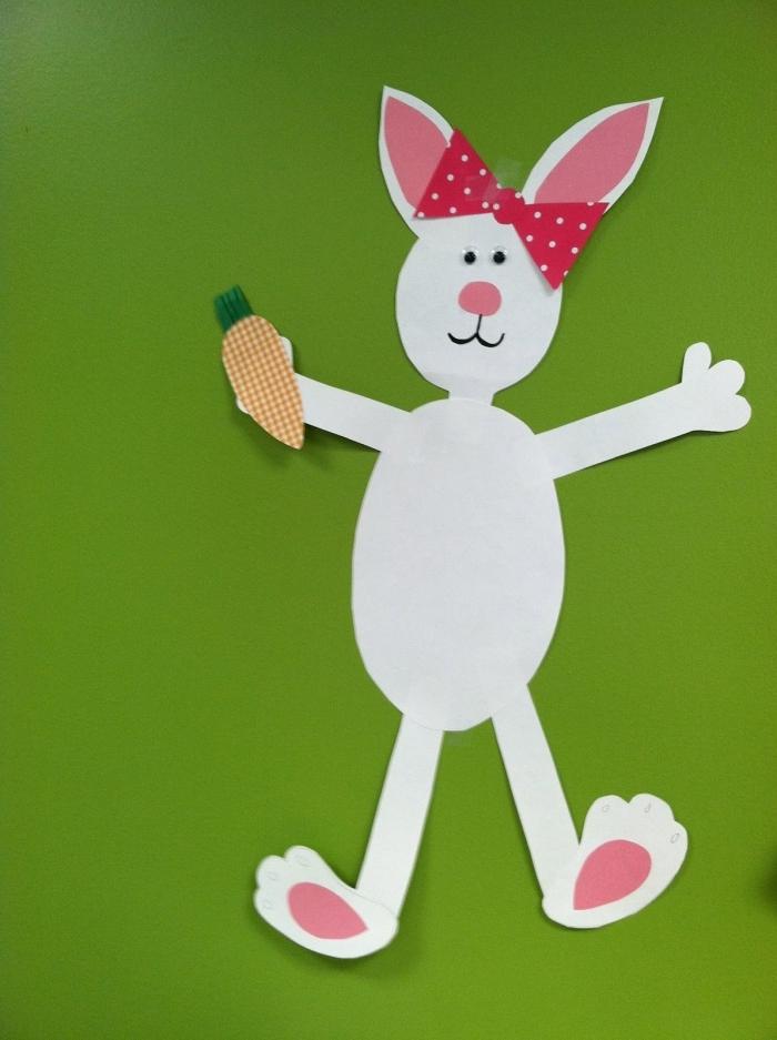 activité paques maternelle diy lapin en papier blanc formes parties corps oreilles feuille rose
