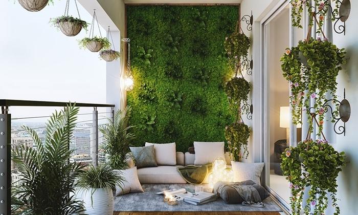 aménagement jardin vertical extérieur conception style moderne déco balcon cosy pots suspendus