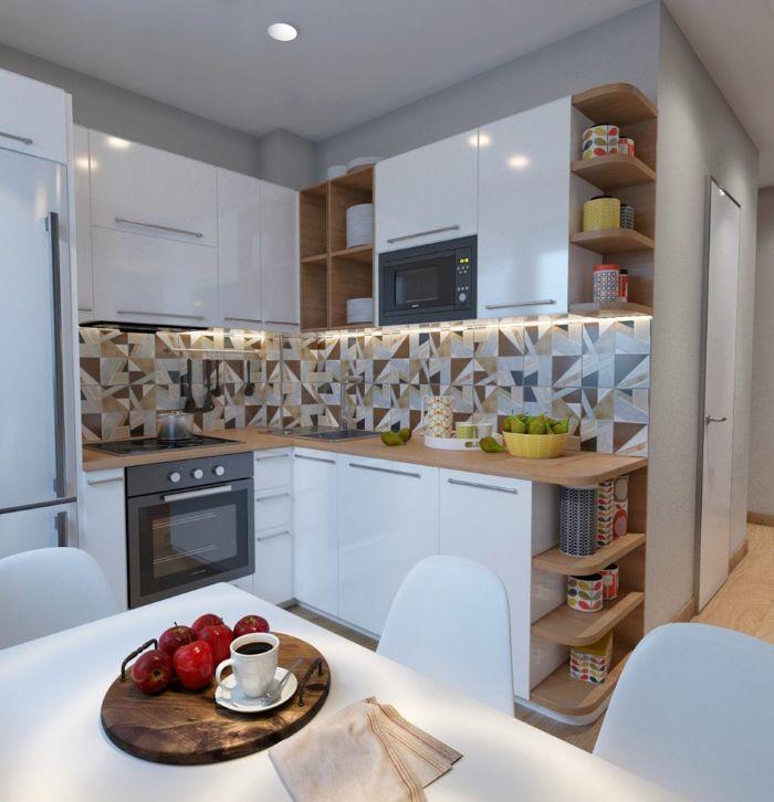 amenagement petite cuisine 4 m2 carrelage credence colorée meuble haut et bas blanc parquet bois clair