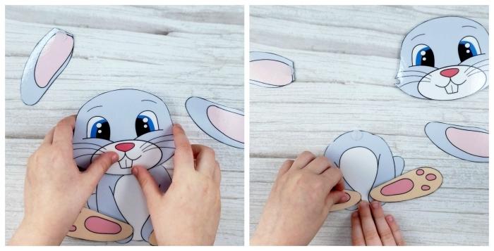 art papier activité paques creche diy lapin en papier cartonné assemblage parties corps animal en papier