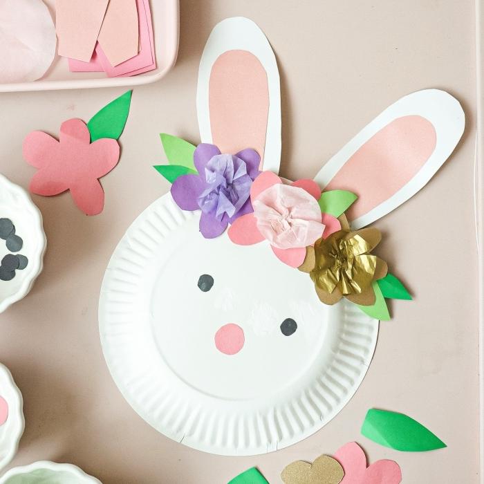 assiette en papier ronde blanche art ppaier diy fleur feuille dorée bricolage paque facile forme lapin