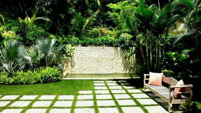 banc en bois dalles de beton sur gazon palmiers mur de pierre arbustes idee amenagement jardin