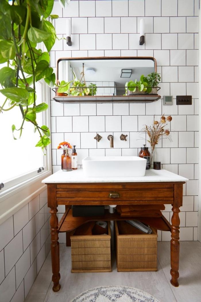 boite de rangement salle de bain sous lavabo boîte bois miroir avec rangement suspendu applique mural