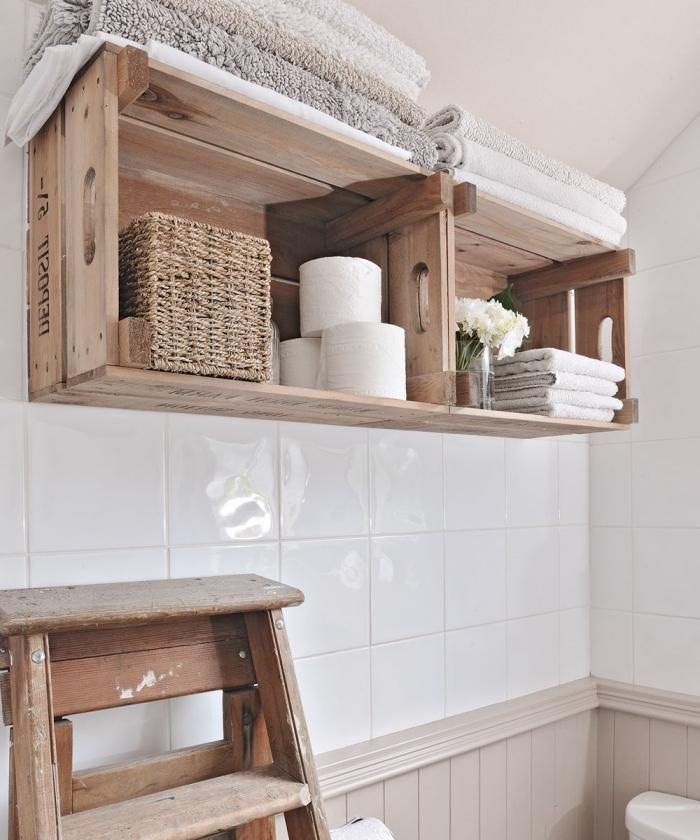 boite rangement salle de bain que faire avec cagette bois diy rangement mural étagère panier tressé