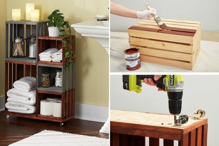 bricolage facile que faire avec cagette bois peinture foncée astuce rangement petite salle de bain diy