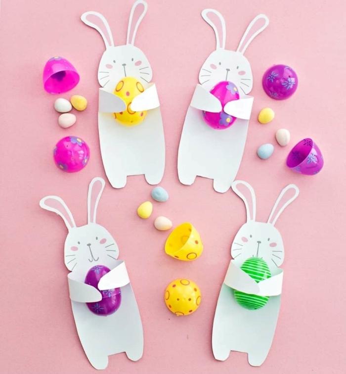 bricolage paques primaire diy mini lapin en papier oeuf plastique bonbon chocolat activité enfants