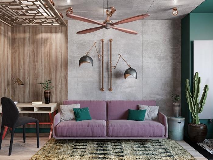 canapé violet coussin vert déco style industriel chic cactus intérieur boho moderne ventilateur plafond rose gold
