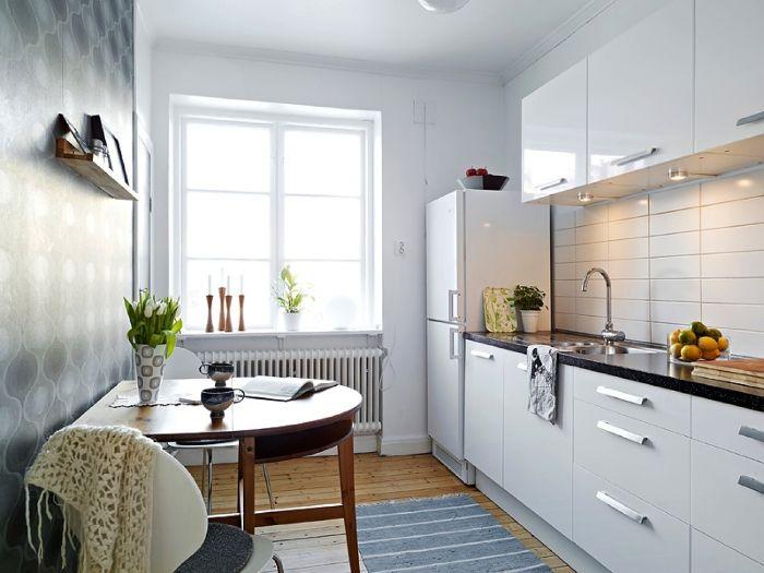 comment amenager petite cuisine fermée meuble cuisine blanc haut et bas plan de travail granite table demi cercle manger