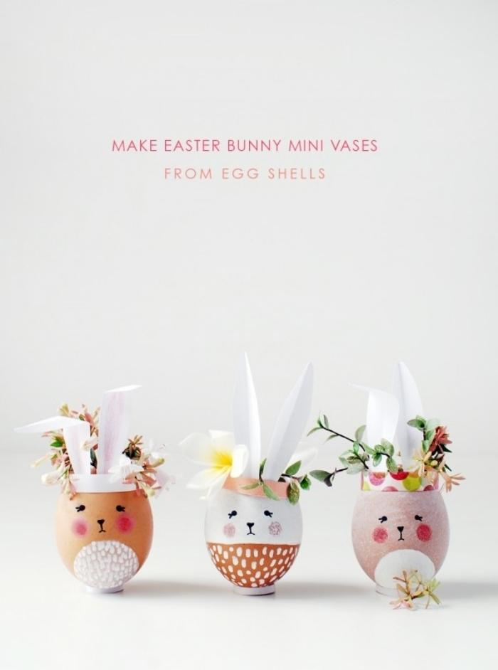 comment décorer oeuf avec peinture activité manuelle paques enfants oreilles lapin papier blanc