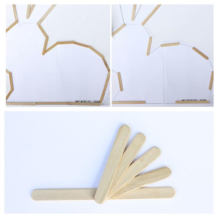 comment elaborer un lapin décoratif en utilisant des batons de glace deco paques diy