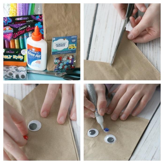 comment fabriquer un panier de paques avec sac en papier et des yeus ecqrauilles activité pour enfant