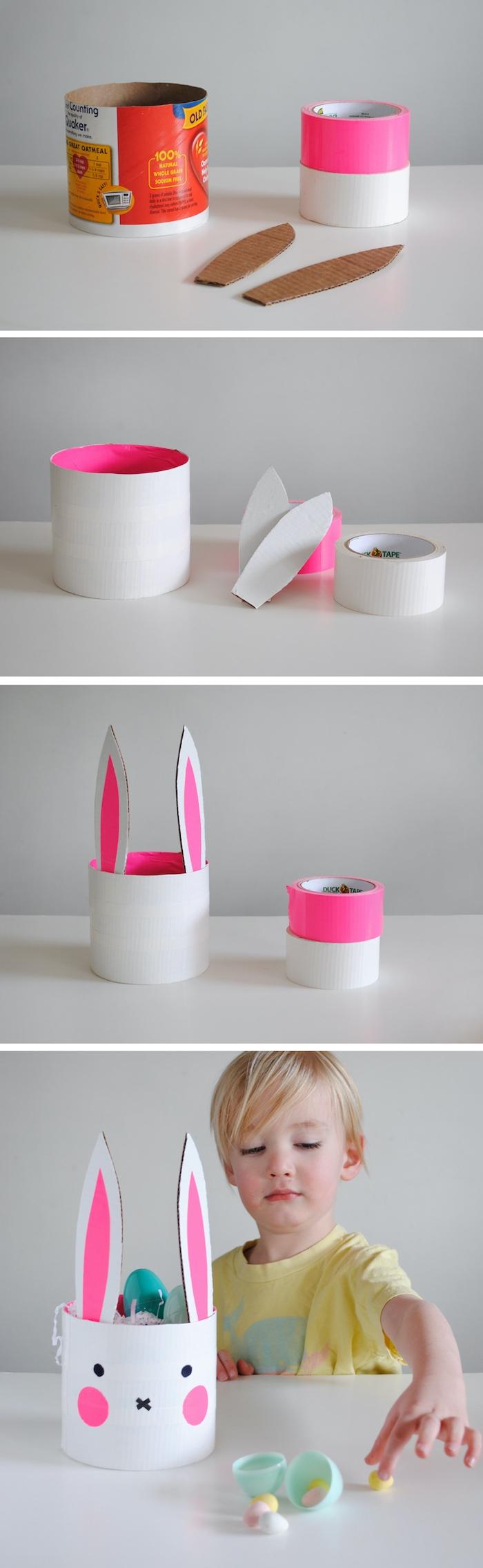 comment fabriquer un panier en papier en forme de lapin activité paques maternelle
