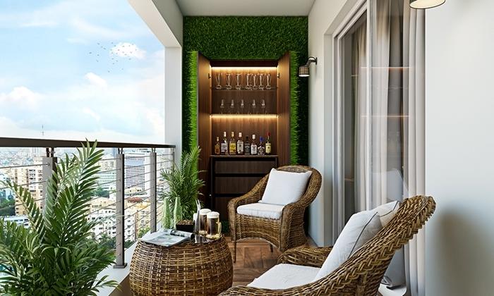 comment faire un mur végétal style moderne bar terrasse revêtement sol effet bois meubles rotin table basse