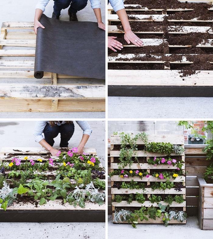 comment faire un mur vegetal en palettes de bois bricolage facile technique jardinage urbain deco balcon