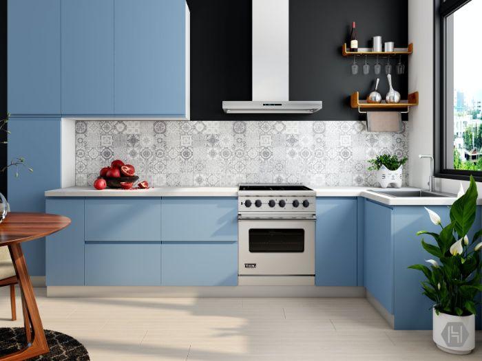 credence carreaux de ciment de type azulejos motifs geometriques florales cuisine couleur bleue peinture noire