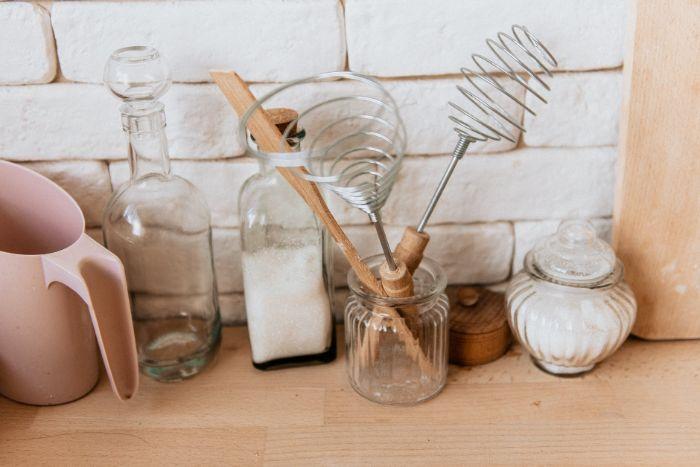 credence cuisine en briques blanches idée déco cuisine rustique en bois et briques charme brut