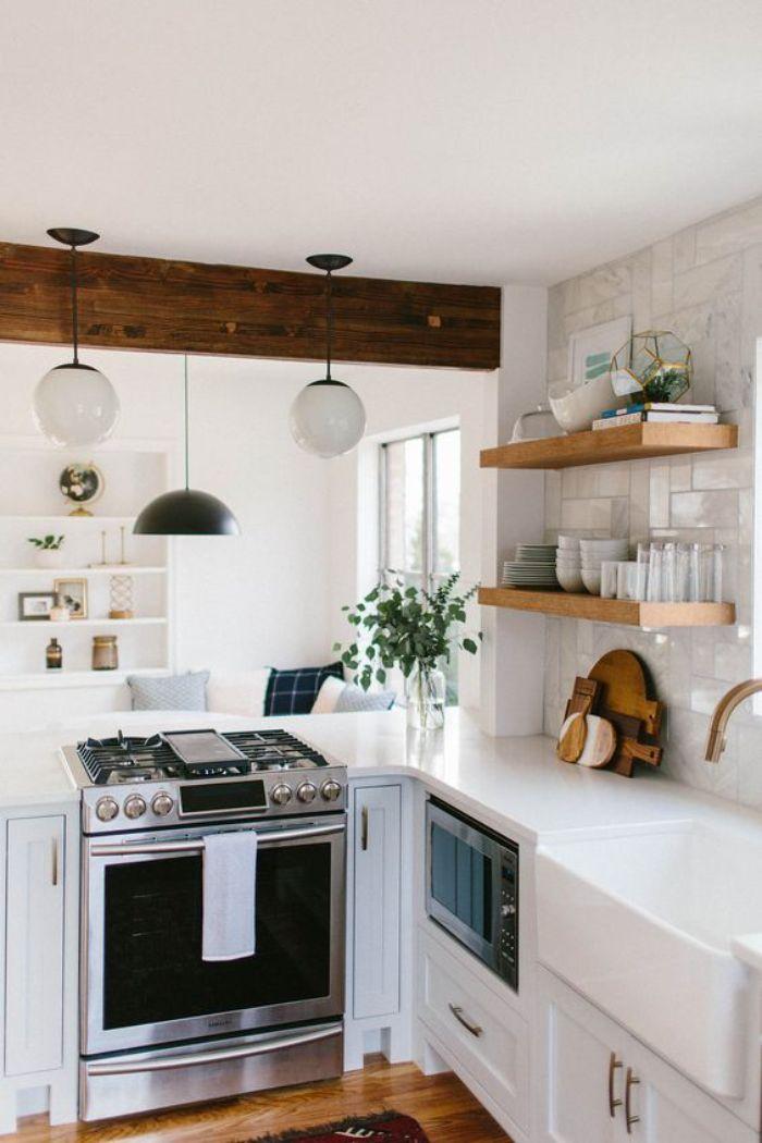 cuisine blanche en l ouverte sur un salon idee amenagement petite cuisine 6 m2 classique design scandinave