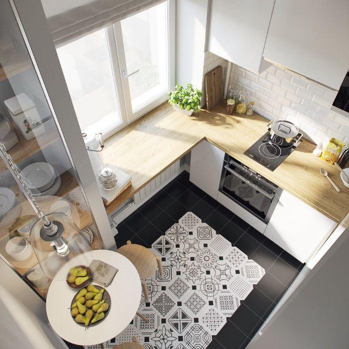 cuisine en u petite surface avec meuble blanc et plan de travail bois blond carrelage sol noir meuble deco style scandinave