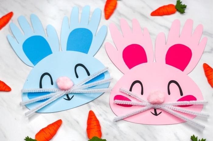 cure pipe moustaches lapin tête animal visage en papier cartonné coloré activité paques maternelle