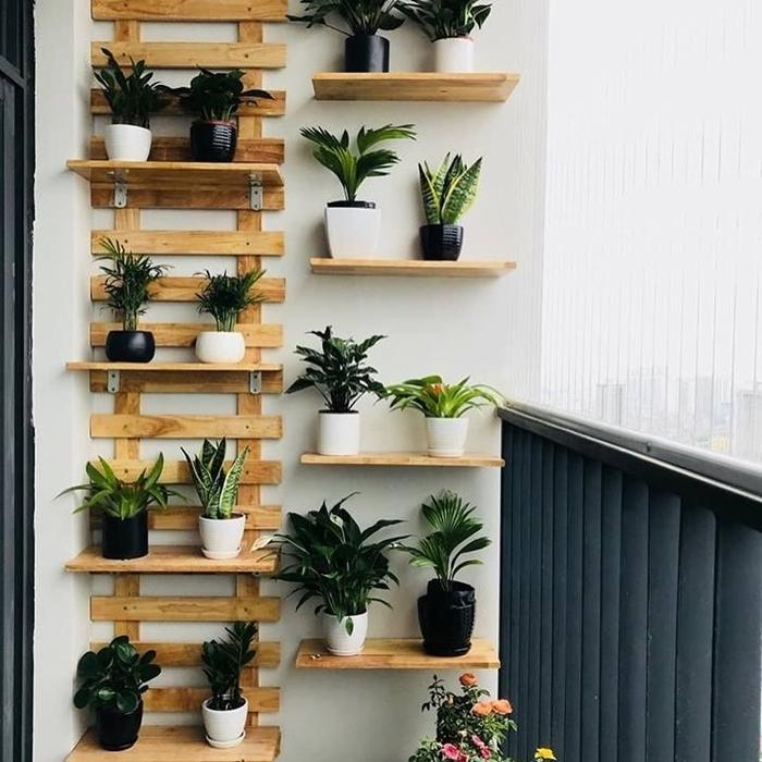 décoration murale avec pots plantes vertes rangement mur végétal palette étagère petite pots blancs