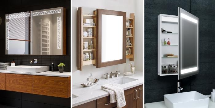 décoration salle de bain carrelage noir mat armoires sous lavabo bois miroir avec rangement
