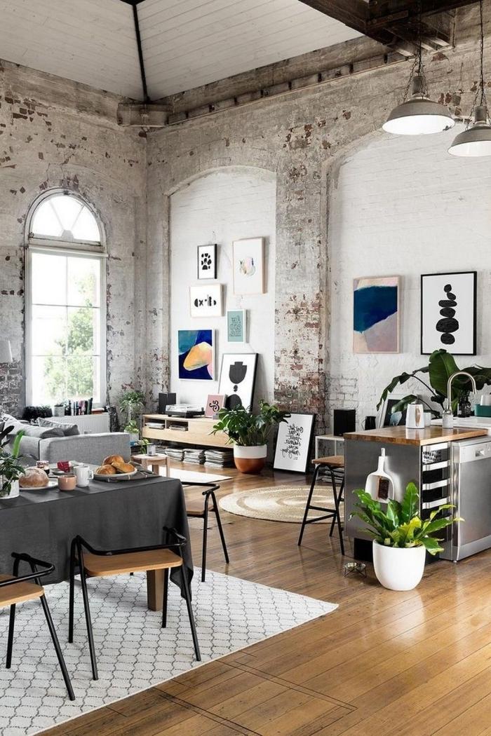 deco salon industriel vintage mur briques blanches effet retro chic plafond bois blanc parquet stratifié