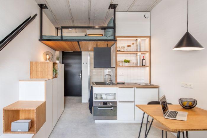 decoration japonaise de petit appartement studio 20 m2 avec escalier pas japonais kitchenette pour studio 20 m2.jfif