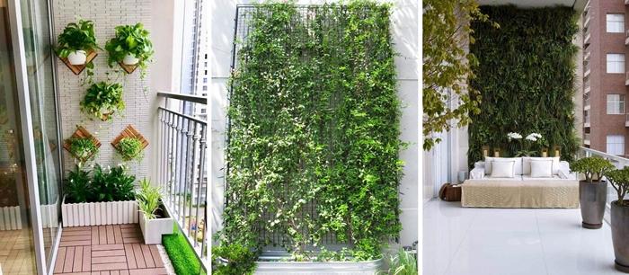 decoration petit balcon avec jardin vertical mur plantes sur grillage pots fleurs blancs support bois jardiniere blanche trrasse carrelage