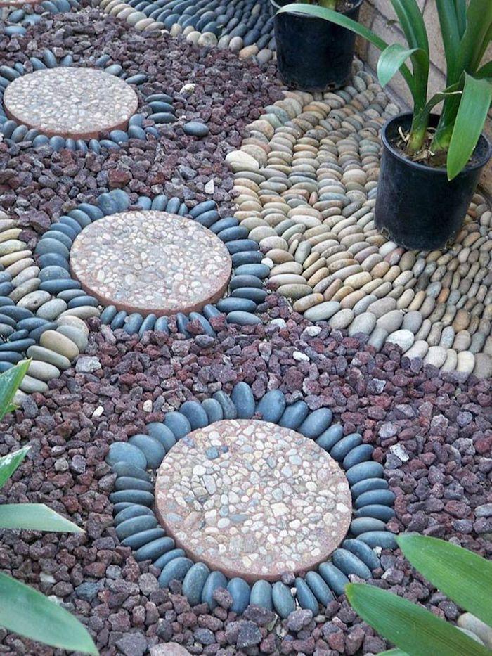 des galets rangés en formes exemple d idée deco jardin gravier avec des plantes en pots
