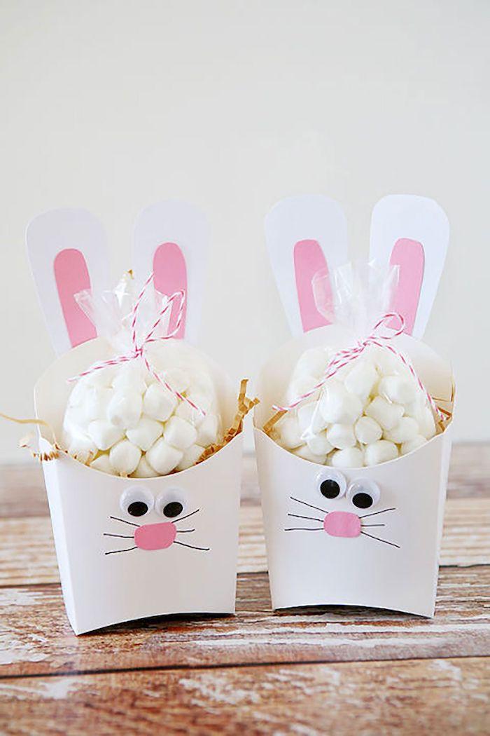 deux boites en forme de lapins remplis de bonbons activité paques maternelle