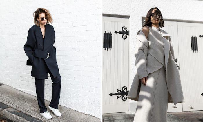 deux exemples d une tenue stylée avec des vestes surdimensionnées et des lunettes de soleil
