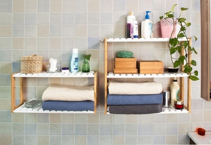 diy étagère pour salle de bain en bois rangement serviette bain mural décoration murale plantes