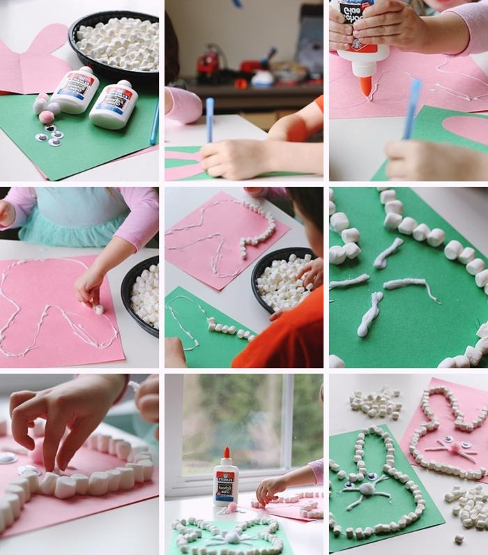 diy carte de paques a fabriquer avec guimauves mini colle blanche papier scrapbooking tutoriel facile bricolage enfant