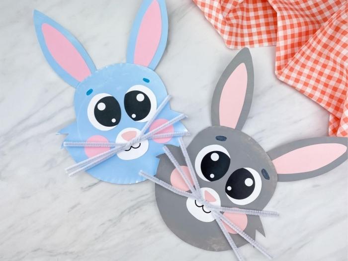 diy lapin en papier cartonné décoration de paques à fabriquer feuille papier peinture acrylique
