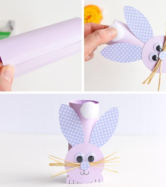 diy lapin papier cartonne uni activite manuelle de paques fabrication forme lapin rouleau papier peint