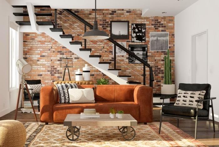 escalier moderne mur en briques rouges appartement style industriel moderne mur de cadres photos blanc et noir
