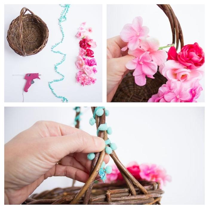 etapes a suivre pour fabriquer un panier de paques avec des fleurs artificielles