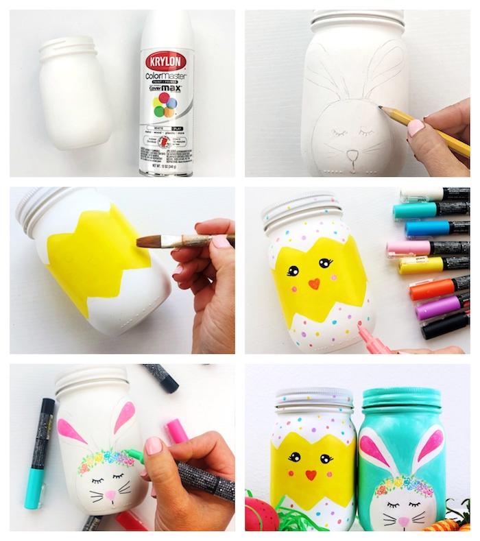 exemple bricolage paques facile a faire dans pots en verre peints à motif paques lapin et poussin creation originale