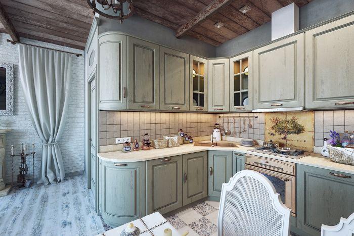 exemple de cuisine campagne chic bois avec plan de travail blanc meuble haut cuisine bois carrelage original sol carrelage original