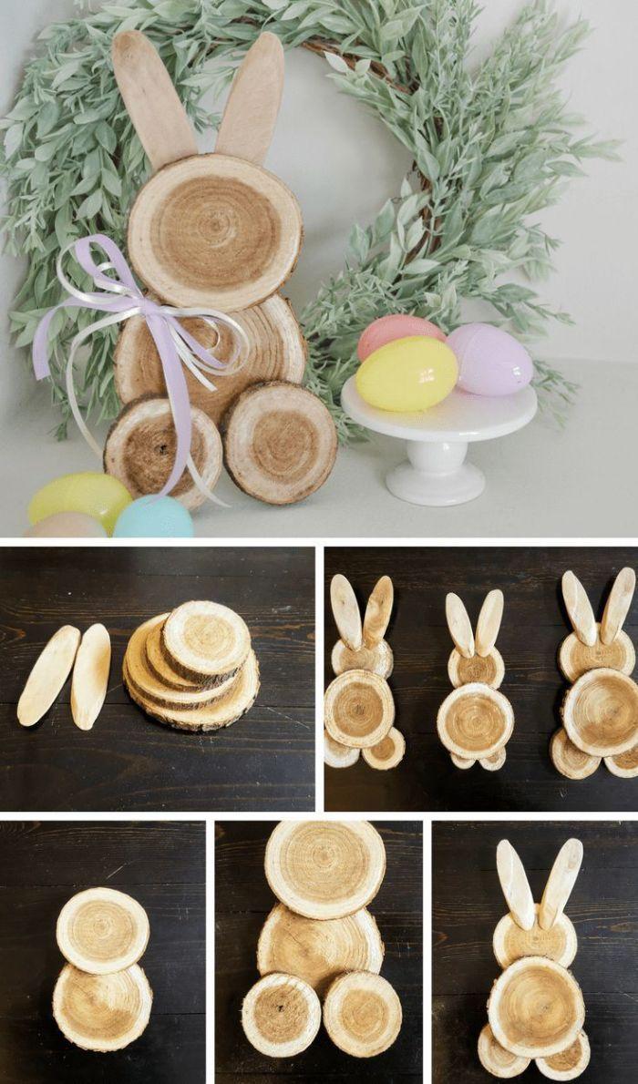 faire un lapin de paques en troncs de bois ronds assemblés bricolage idée déco de pâque a faire soi même avec récup