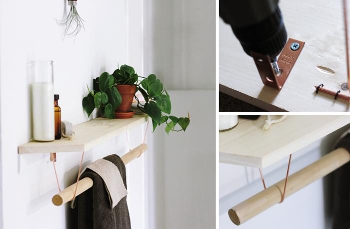 idée comment faire une étagère planche bois rangement salle de bain diy bricolage facile astuce optimisation espace