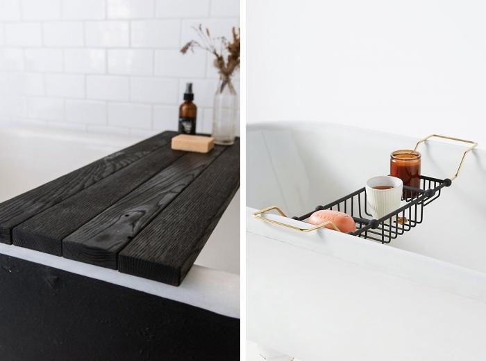 idée rangement baignoire pont plateau bois noir peinture diy rangement produits salle de bain