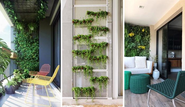 idee construction mur vegetal exterieur sur grillage decoration balcon petit espace style moderne