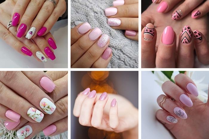 idee couleur ongle printemps vernis couleur rose fuschia ongles longs nail art motifs floraux