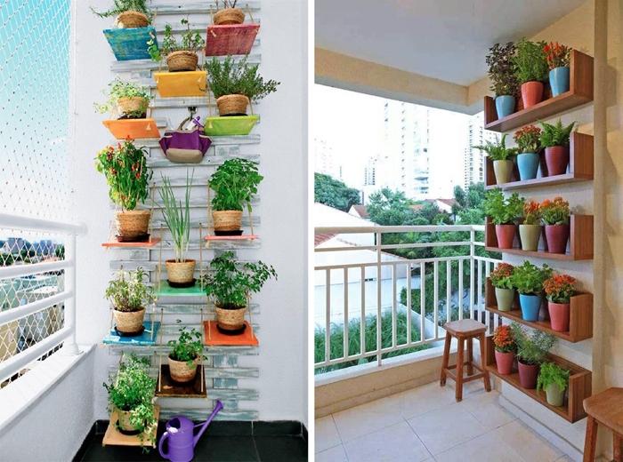 idee decoration de petit balcon avec mur de plantes fleuries grillage pots accroches au mur