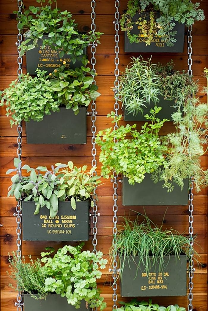 jardinière décoration balcon panneaux bois mur pot à accrocher au mur extérieur chaîne métal plantes