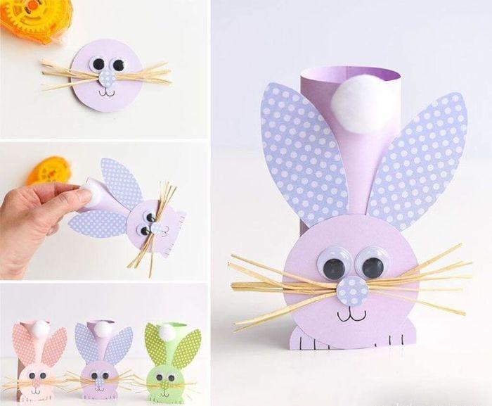 lapin fabriqué dans rouleau de papier toilette vec visage oreilles pattes papier des yeux mobiles moustaches queue en coton