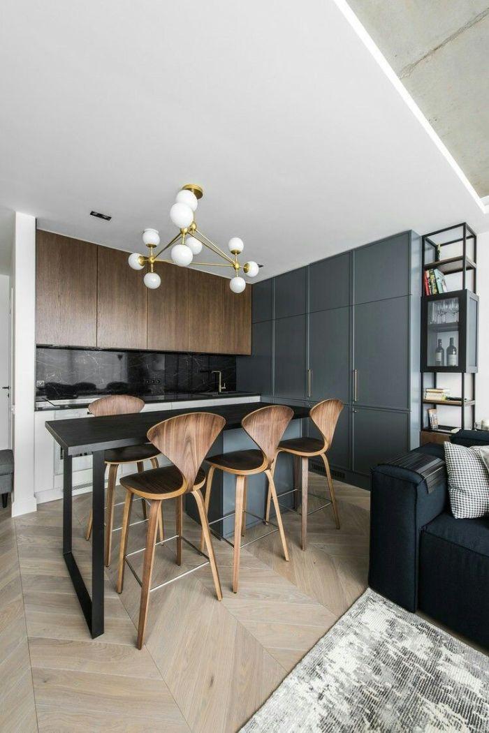 meuble cuisine bas couleur blanche credence marbre noir table bar bois et chaises boisées meuble cuisine gris foncé meubles hauts bois