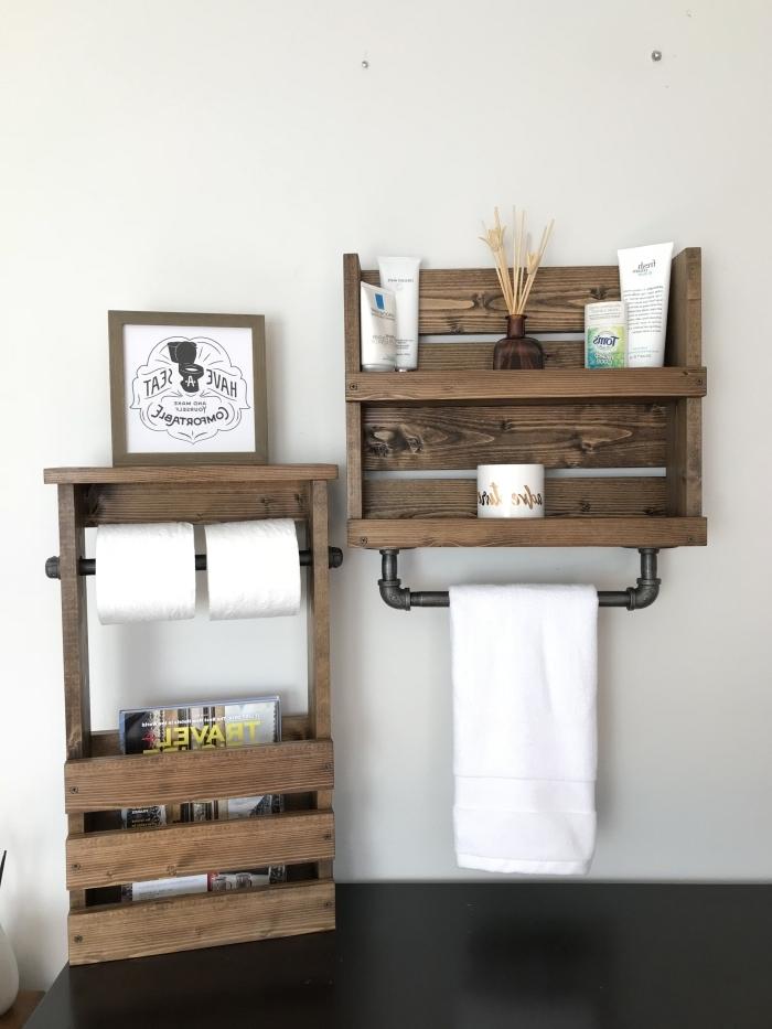 meuble de rangement pour salle de bain diy étagère pour rouleau papier toilette magasine tuyau
